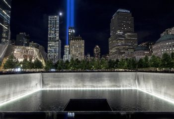 Tribute in lights illuminate downtown in New York, NY on Sunday, Sept. 11, 2016. Photo by Jin Lee,9/11 Memorial