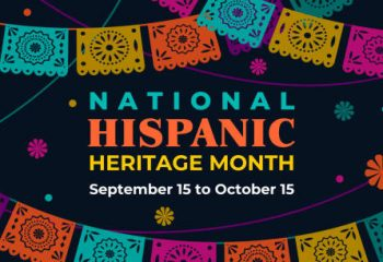 Hispanic heritage month. Vector web banner, poster, card for social media, networks. Greeting with national Hispanic heritage month text, Papel Picado pattern, perforated paper on black background